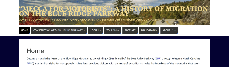 Screenshot of the homepage of the Mecca for Motorists website