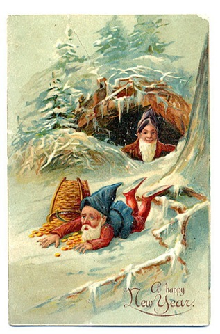 Free Vintage Happy New Year Greeting Cards Elves With