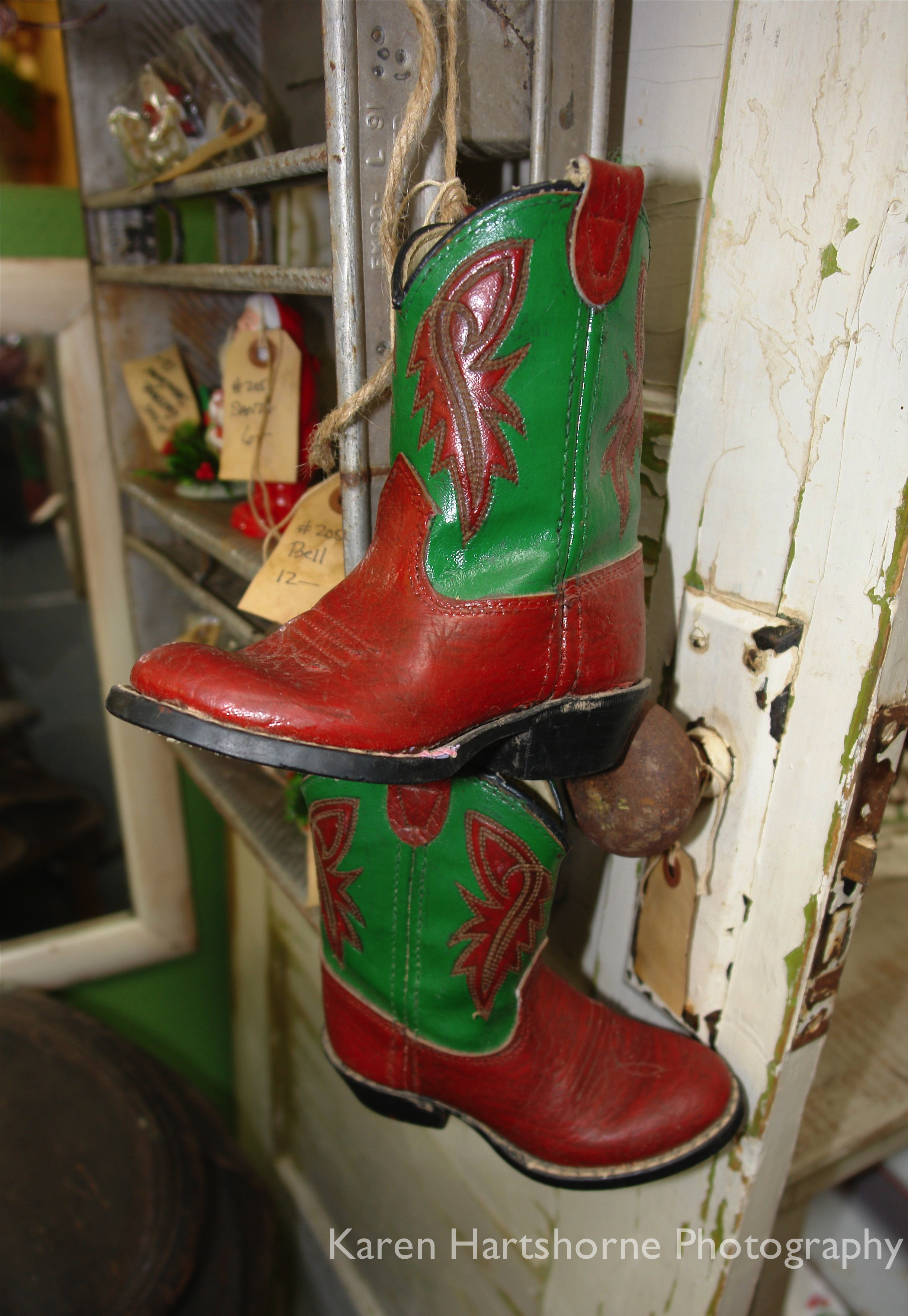 Christmas cowboy boots  Copper Country Antiques