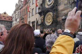 The crowd gathering for the famous astronomical clock