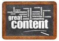 great content word cloud on a vintage blackboard - bloging and content marketing concept
