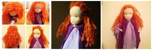 The finished girl marionette, three layers of stitched hair, muslin robes and lilac rose clasp