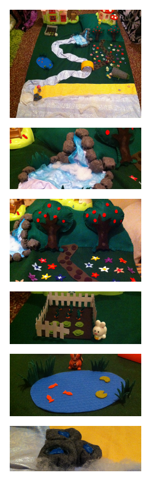 Our nature play mat with waterfall, hilltop, river, beach, sea, apple trees, meadow, veg patch and pond.