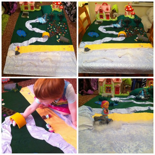 The play mat the night before Coppertop's birthday and her playing with her animals at the 'bridge'