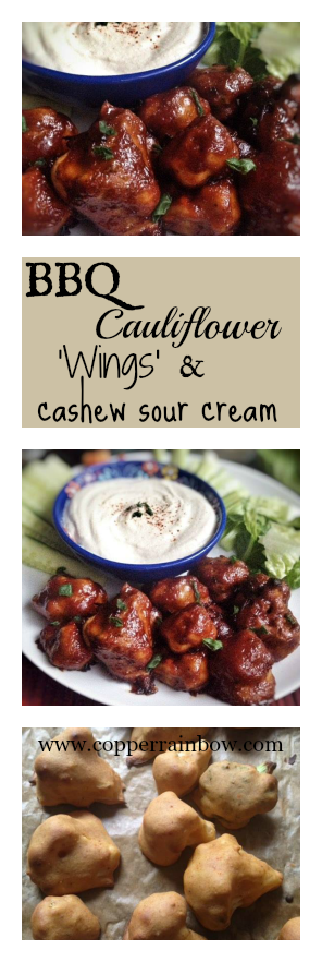 Sticky, sweet & smoky cauliflower 'wings' with a cool cashew sour cream