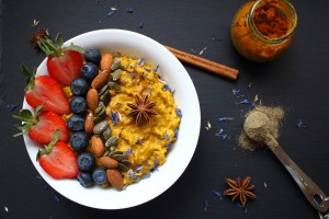 Vibrant warmly spiced turmeric porridge