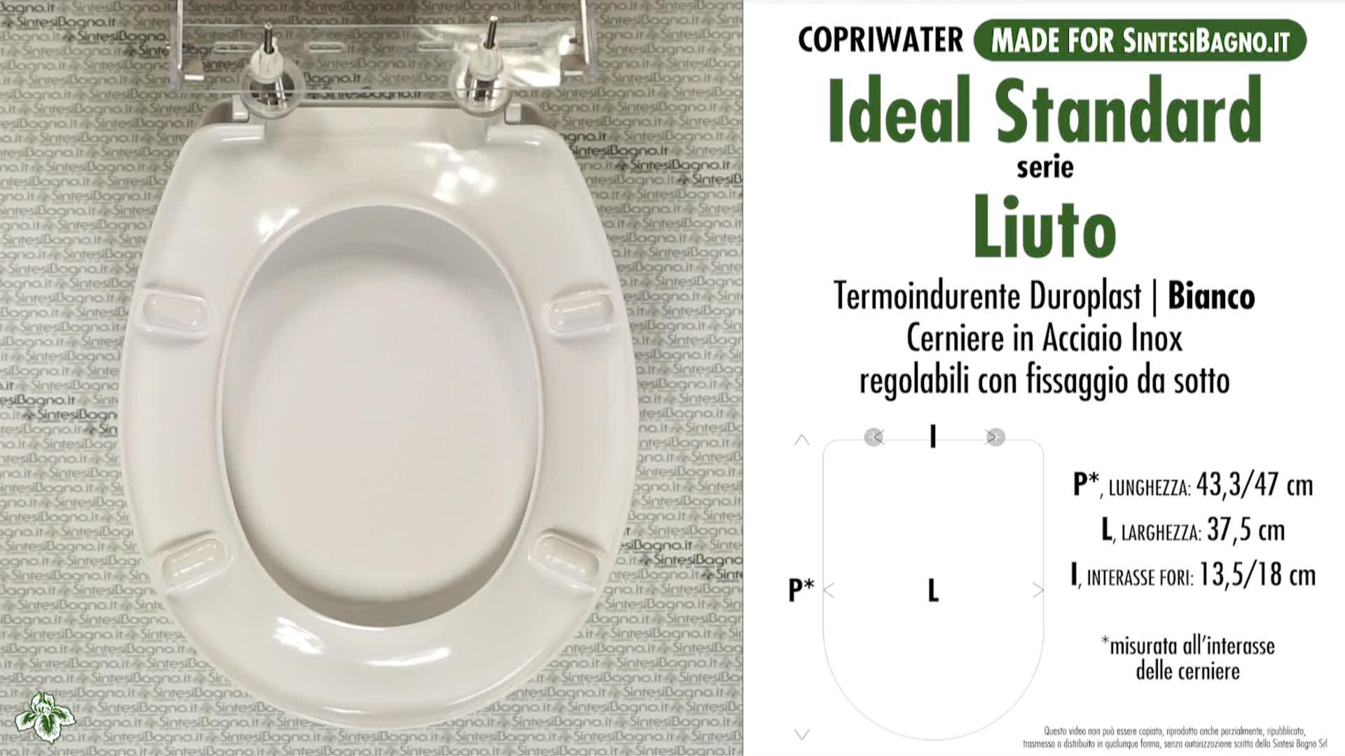 SCHEDE TECNICHE misure copriwater IDEAL STANDARD serie LIUTO