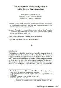 قبول غير اليعاقبة إلى الطائفة القبطية - مقارنة نصية - الدكتور يوحنا نسيم يوسف