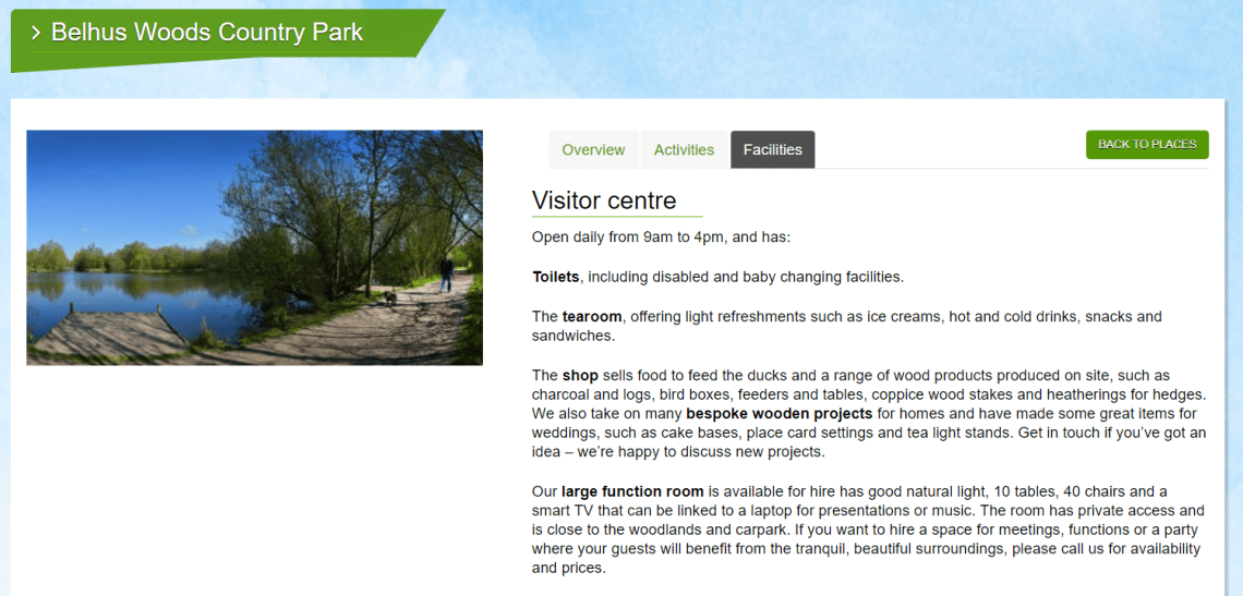 Essex Country Parks park facilities detail screenshot