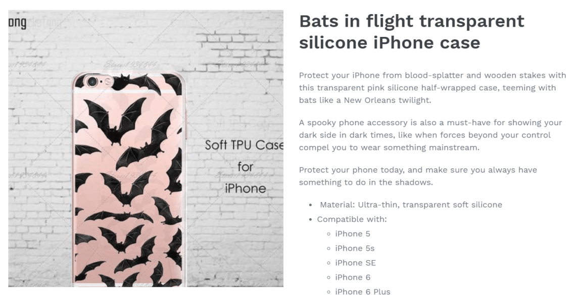 Product description copywriting for bat phone case