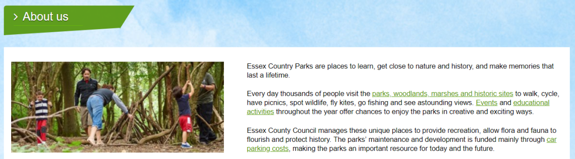 Essex Country Parks 'About us' page