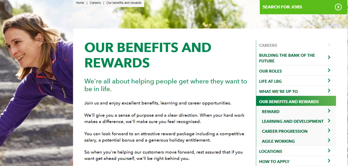 Benefits and rewards recruitment copywriting content strategy