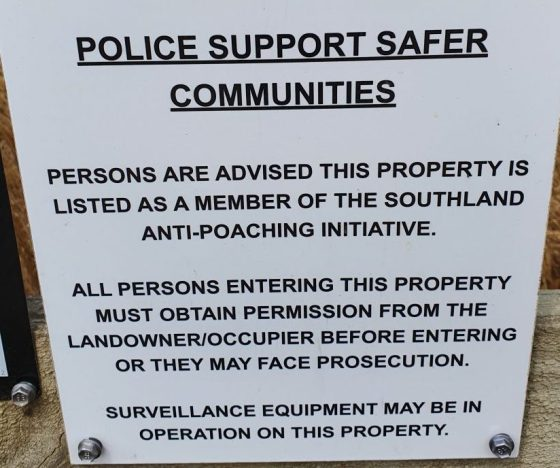New Zealand Police sign about poaching