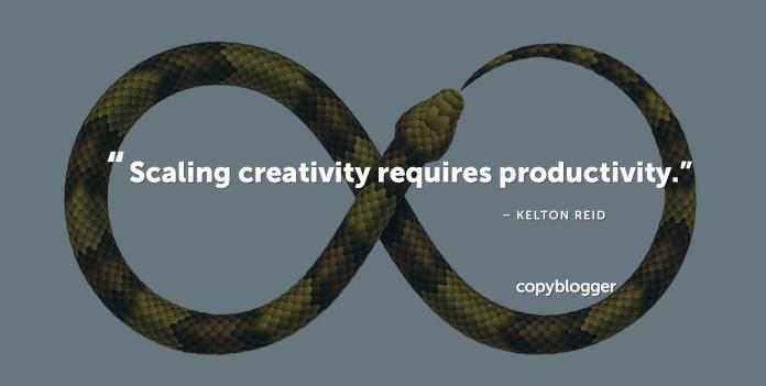 """Scaling creativity requires productivity."" – Kelton Reid"