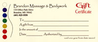 Brandon Massage Gift Certificate