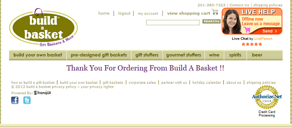 Thank you page Build A Basket