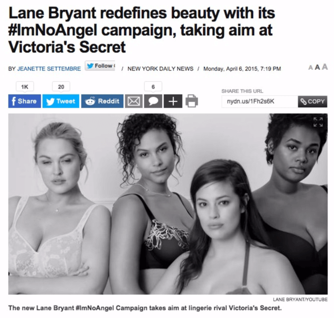 Lane Bryant vs Victoria's Secret newspaper