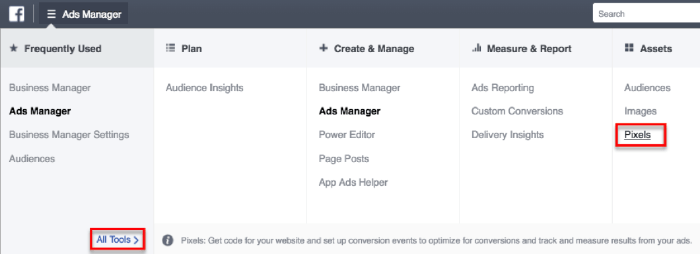 Screenshot of FB ads manager