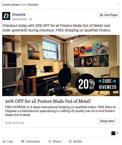 Displate BOFU FB ad