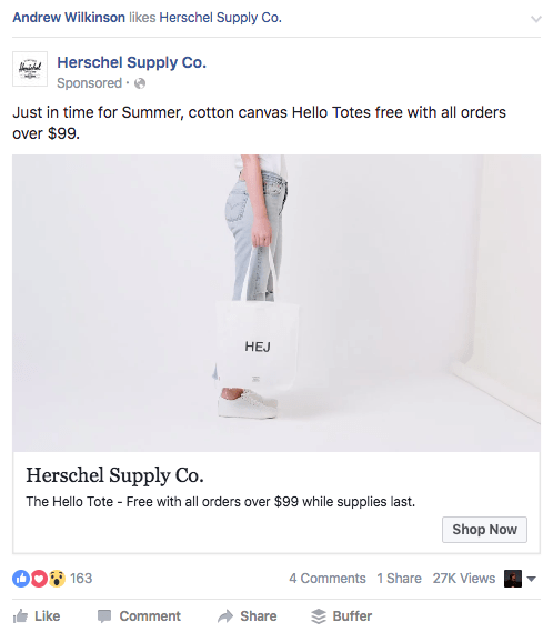 Herschel FB ad copy