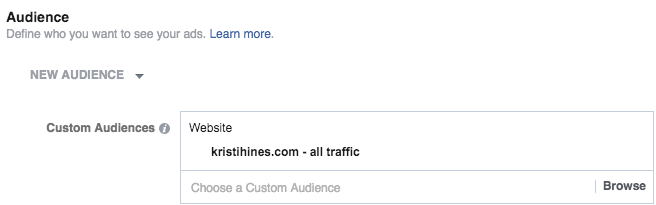 Custom audience for ad