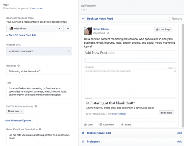 Create your ad in Facebook