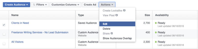Modify your saved audience in Facebook