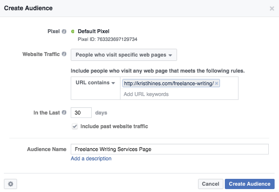 create an audience in FB