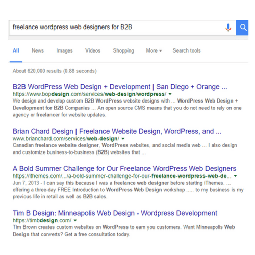 freelance worpress web design b2b