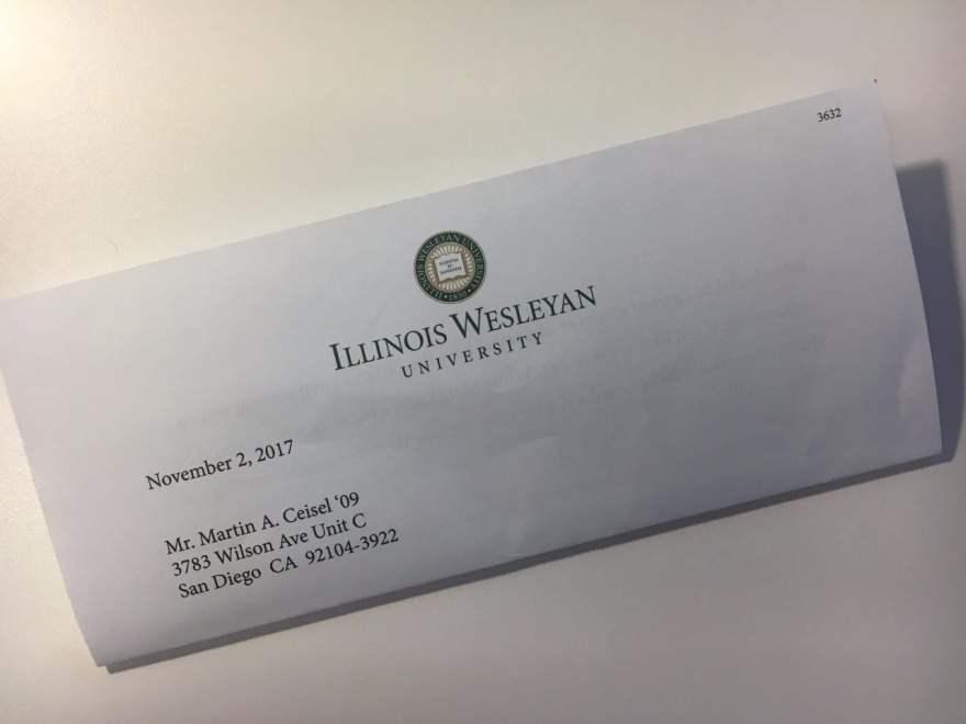 Illinois Wesleyan University Donor Letter