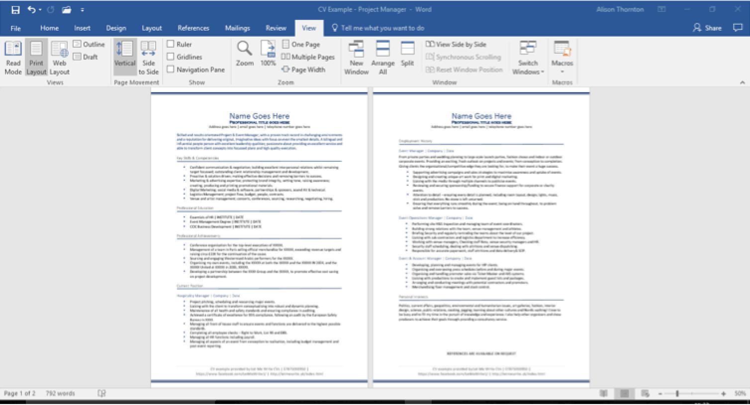 standard resume color