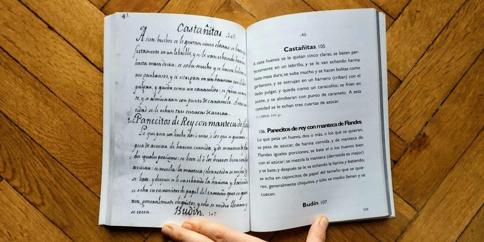 Libro de recetas del 1800 de las cocinas de las Cortes de Cádiz. Las recetas se escribían todas de corrido, sin referencias a los tiempos ni listado de ingredientes.