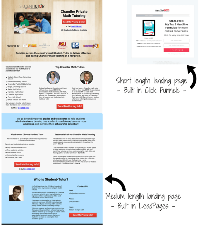 Landing page examples built in click funnels and LeadPages