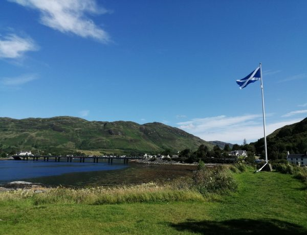 Picture of a Scottish Flag taken from Eilan Donan Castle near Skye in Scotland