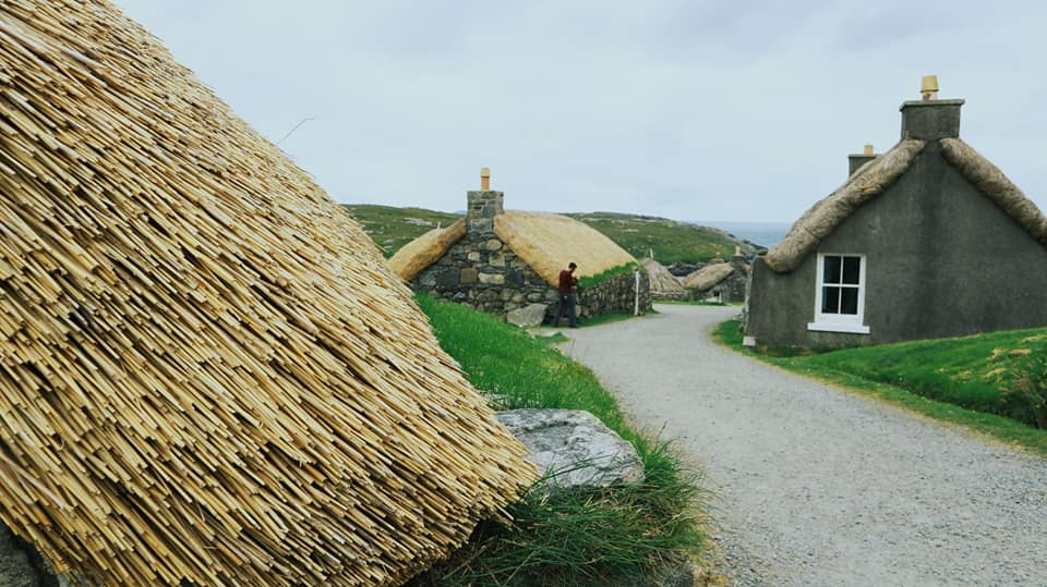 Houses with thatched roofs