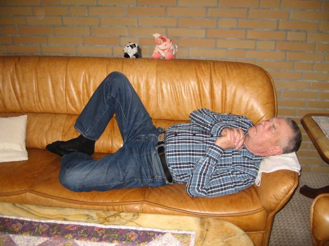 Sleeping on sofa