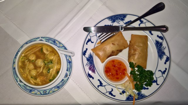 Tom Yum Soup and spring rolls