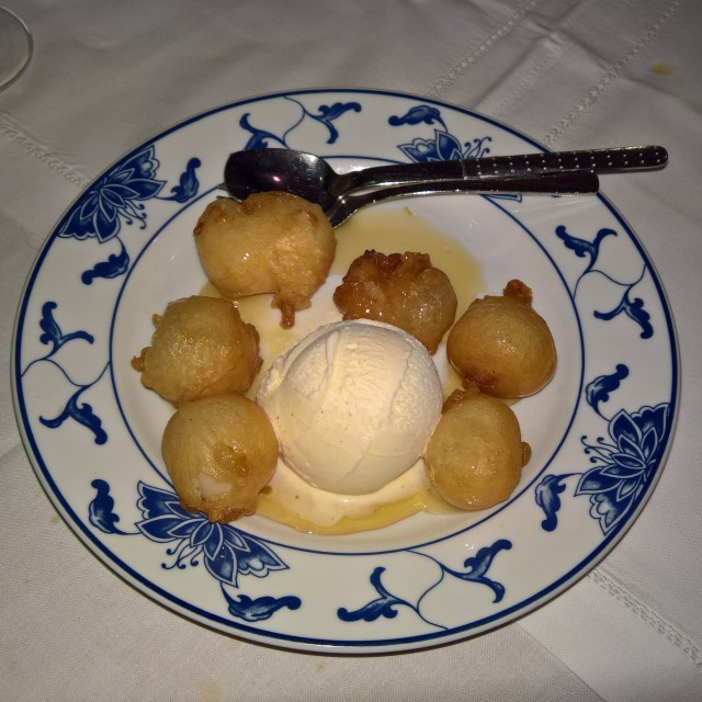 Lychees with ice cream