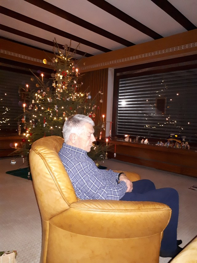 My Dad with Christmas tree