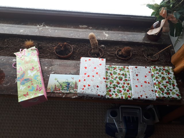 Birthday presents wrapped