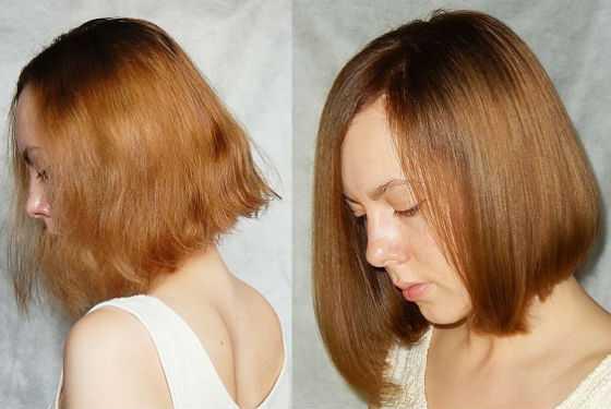 Окрашивание с эффектом оздоровления на коротких волосах