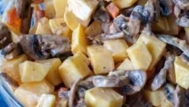 Photo of запеченная картошка с грибами и сметаной