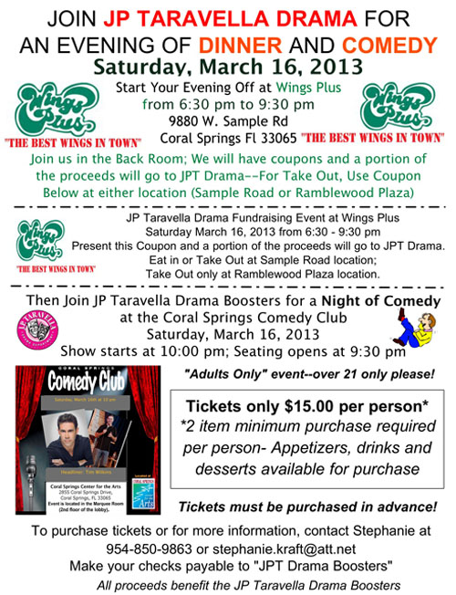 Join Jp Taravella Drama For A Night Of Wings And Comedy