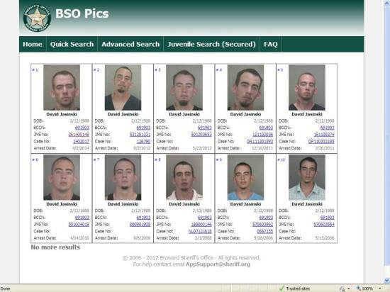 Jaskinski is a habitual offender according to all of these mug shots.