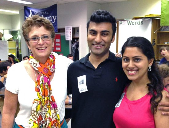 Teacher Laurie Acosta with with former student Mayank Bhandari and his fiance Jasmin Beveja