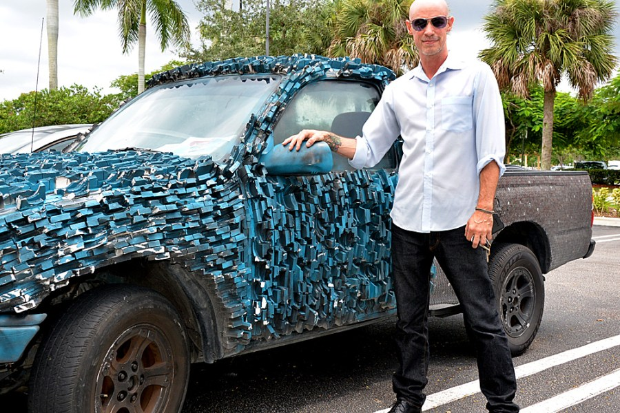 Steve Puryear and his truck at a Coral Springs Starbucks