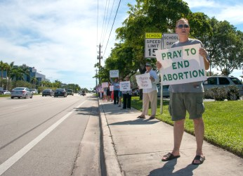 Protesters at the Life Chain event in Coral Springs