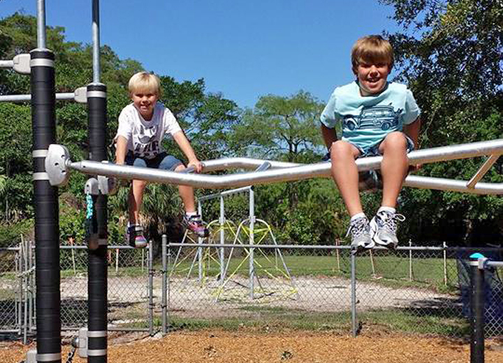 Brayden and Logan Unger have fun at the new playground at Kiwanis Park
