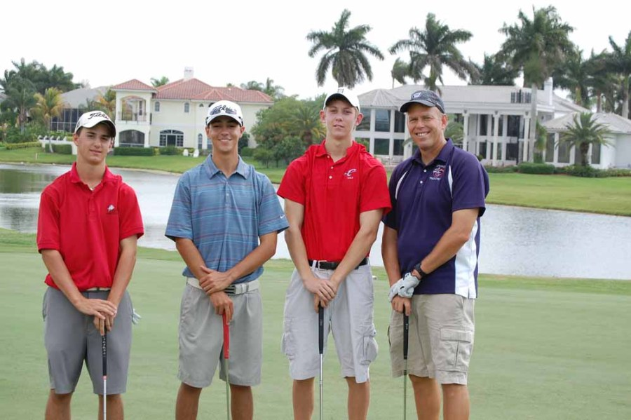 Past golf tournament: Teacher Brad Lindbergh with former students Kent Lindbergh, Ryan Scavuzzo, and Andrew Mangini