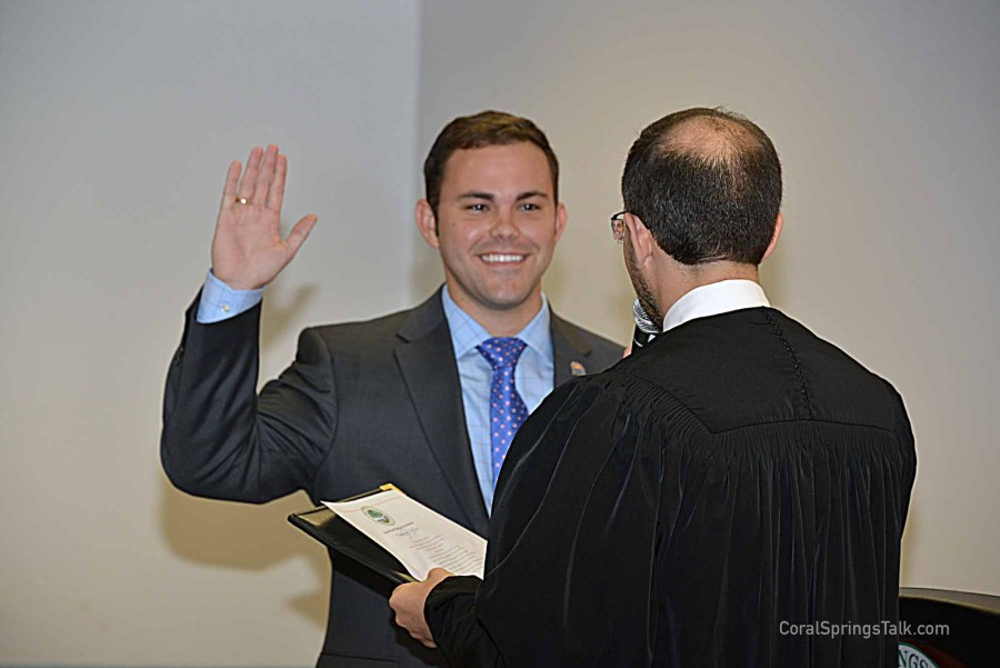 Dan Daley being sworn in for his second term by Judge Ari Porth